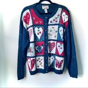 Vintage Heirloom Collectibles Knit Heart Sweater L